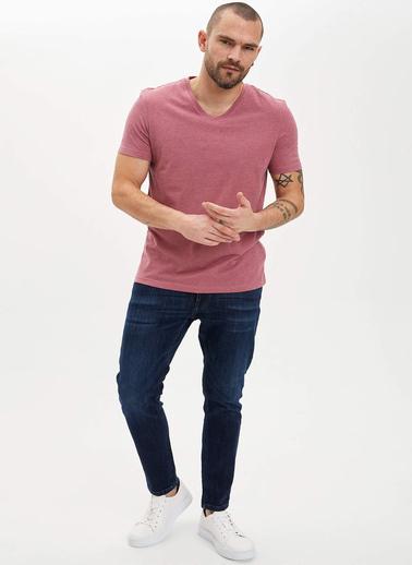 DeFacto Basic Slim Fit T-Shirt Bordo
